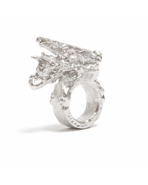 Loveness Lee - Metallic Frondescence Chunky Silver Statement Ring - Lyst