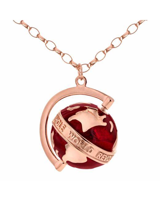 True Rocks - Multicolor Medium Spinning Globe Necklace Rose Gold & Red Enamel - Lyst