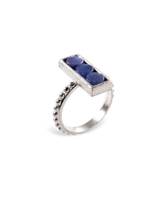 Ona Chan Jewelry | Rectangle Ring With Beaded Shank Blue Quartz | Lyst