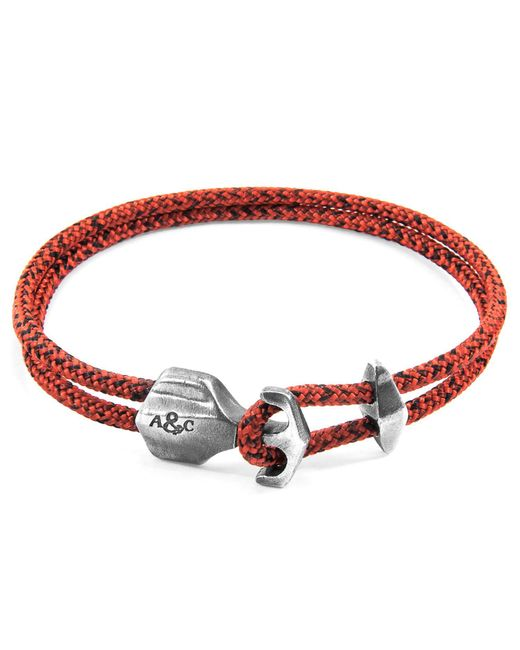 Anchor & Crew - Metallic Red Noir Delta Anchor Silver & Rope Bracelet for Men - Lyst