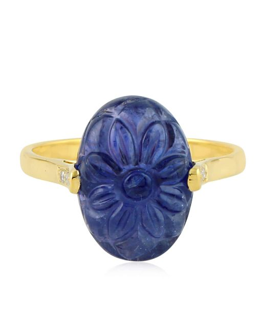 Artisan - Metallic 18k Gold Ring With Carved Tanzanite & Diamonds - Lyst