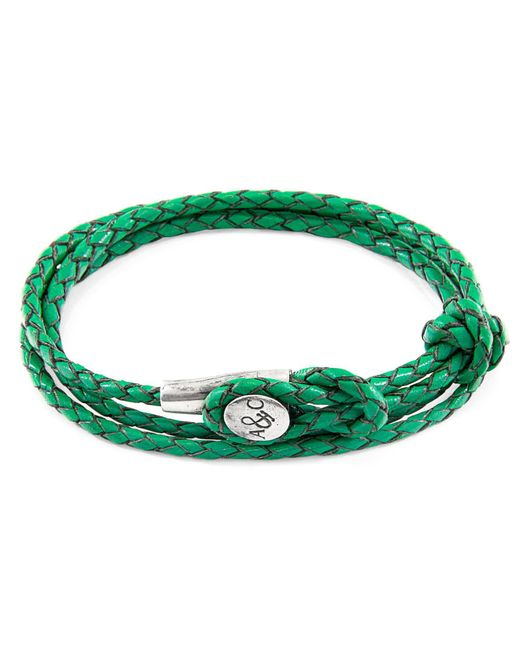 Anchor & Crew - White Fern Green Dundee Silver & Braided Leather Bracelet for Men - Lyst