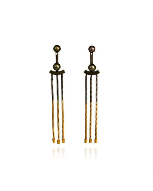 Cara Tonkin - Metallic Orbit Tassel Front & Back Earrings Gold - Lyst