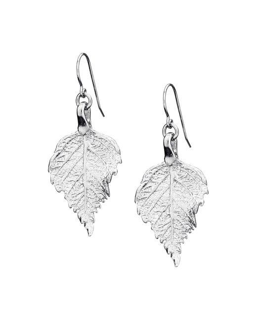 Chupi - Metallic Tiny Raspberry Leaf Earrings Silver - Lyst