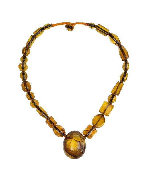 N'damus London - Metallic Amber Honey Chunky Beaded Necklace - Lyst
