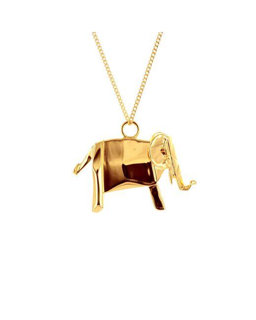 Origami Jewellery - Metallic Elephant Necklace Gold - Lyst