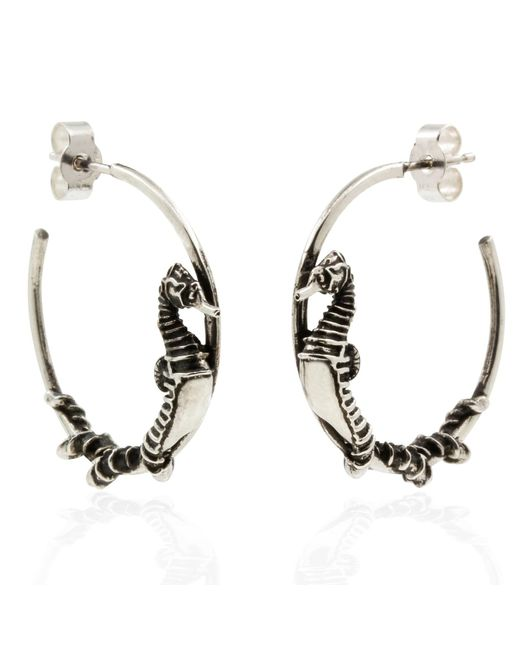 Lee Renee - Metallic Seahorse Hoop Earrings – Silver - Lyst