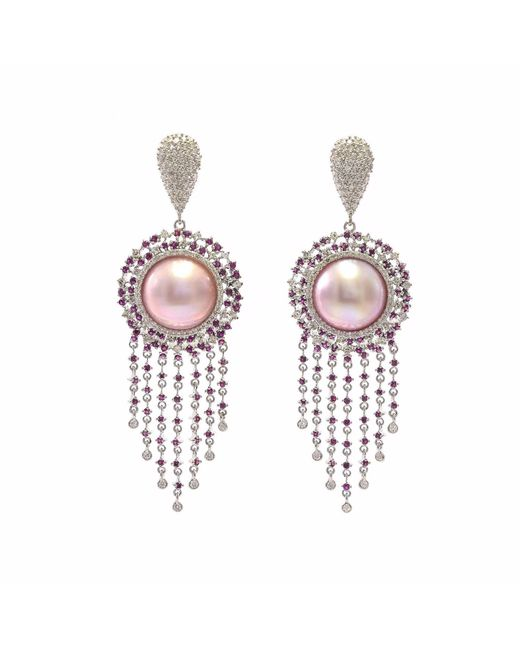 Ri Noor - Pink Pearl Ruby & Diamond Earrings - Lyst