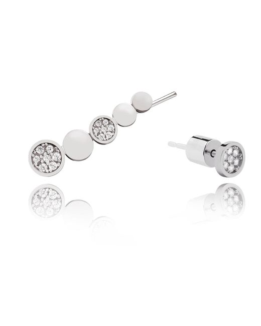 Astrid & Miyu   Metallic Black Magic Circle Earrings In Silver   Lyst