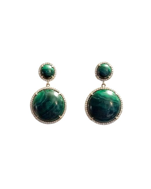 Ri Noor | Green Malachite & Diamond Earrings | Lyst