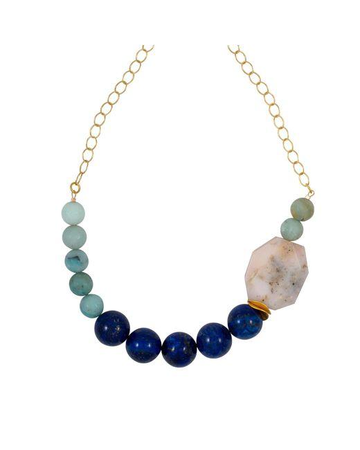 Magpie Rose - Blue Lapis Lazuli & Peruvian Pink Opal Necklace - Lyst
