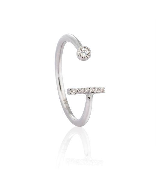 Astrid & Miyu - Metallic Silver Initial I Ring - Lyst