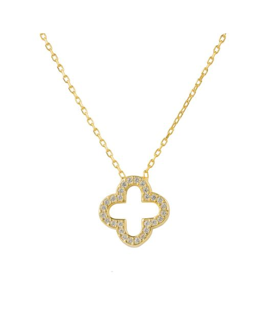 Latelita London | Metallic Open Clover Necklace Gold | Lyst