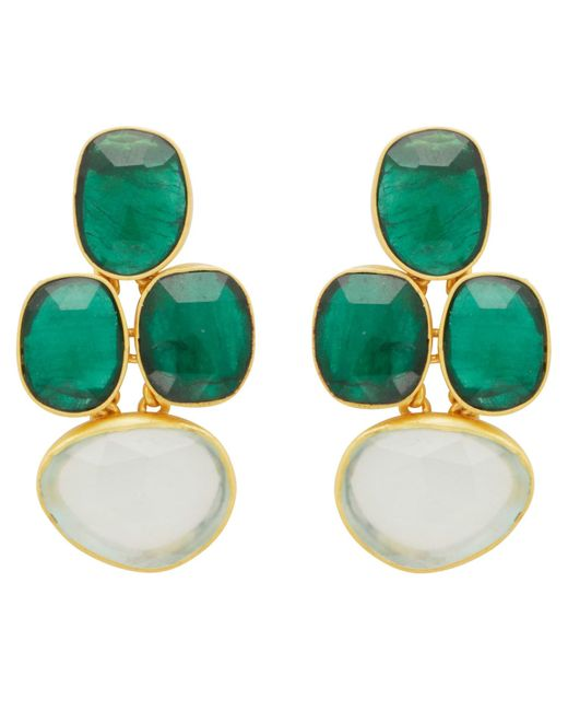 Carousel Jewels - Multicolor Abstract Oval Chrysoprase & Chalcedony Earrings - Lyst