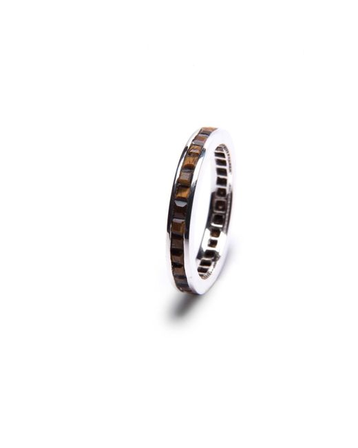 Puck Wanderlust | Metallic Silver Tiger's Eye Square Eternity Stacker Ring | Lyst