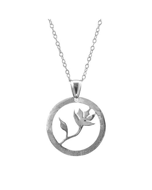 Anchor & Crew - Metallic Exotic Flower Disc Paradise Silver Necklace Pendant - Lyst