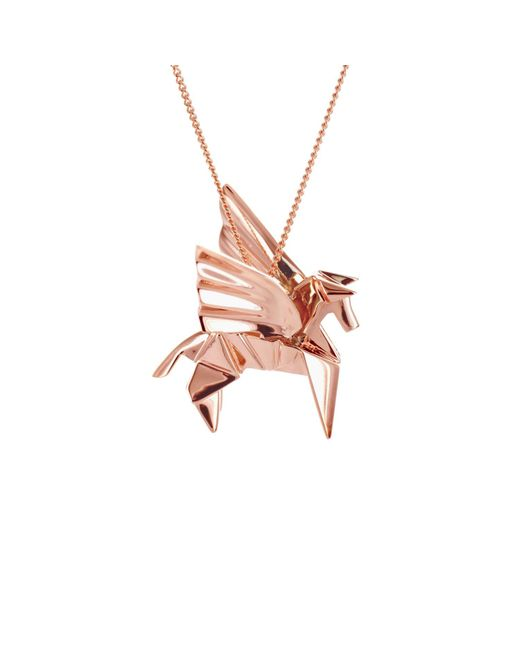Origami Jewellery - Multicolor Pegazus Necklace Pink Gold Plated - Lyst