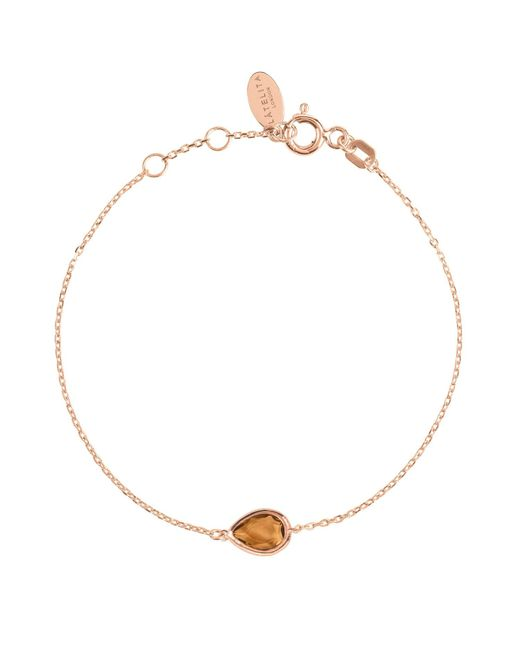 Latelita London - Metallic Pisa Mini Teardrop Bracelet Rosegold Smokey Quartz - Lyst