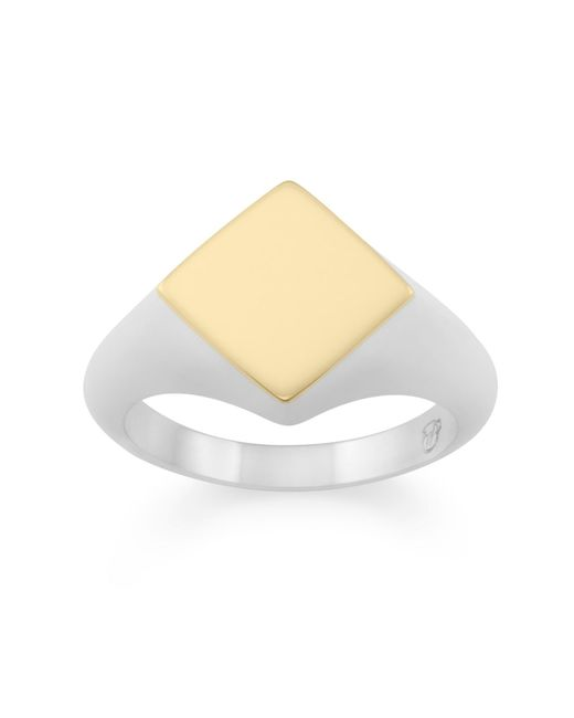 Monarc Jewellery | Metallic The Rhembo Signet Ring Sterling Silver And 9ct Gold | Lyst