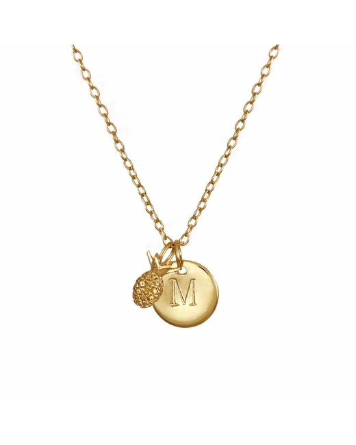 Lee Renee - Metallic Pineapple & Initial Necklace - Lyst