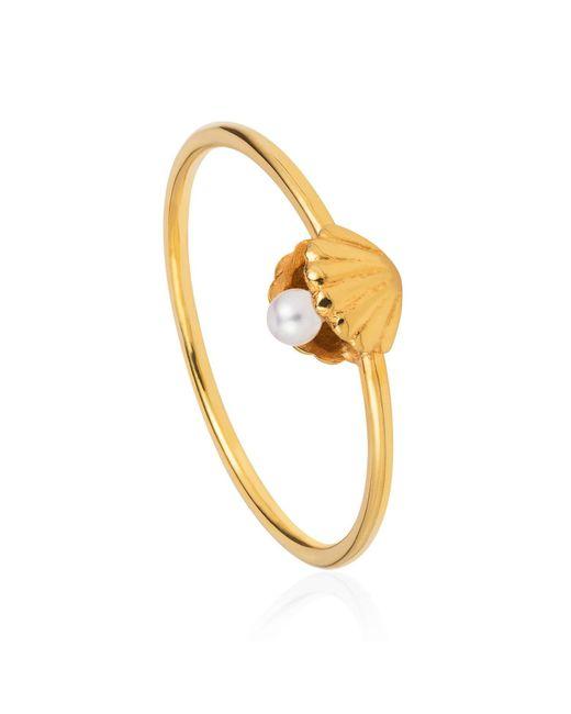 Lee Renee - Metallic Shell & Pearl Ring Gold Vermeil - Lyst
