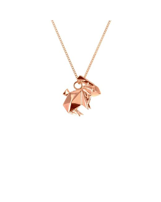 Origami Jewellery - Metallic Mini Rabbit Necklace Rose Gold - Lyst