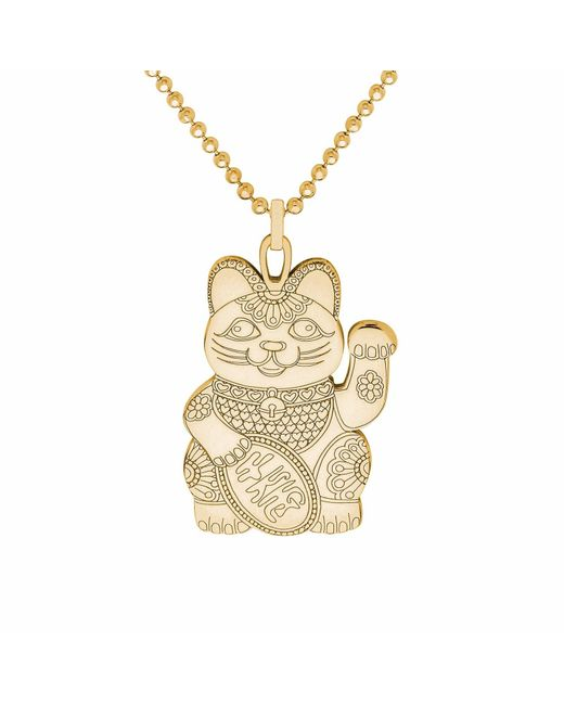 CarterGore - Metallic Gold Lucky Cat Pendant Necklace - Lyst