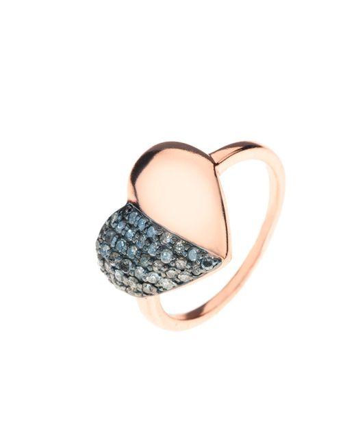 Latelita London | Multicolor Diamond Half & Half Heart Ring Rosegold | Lyst