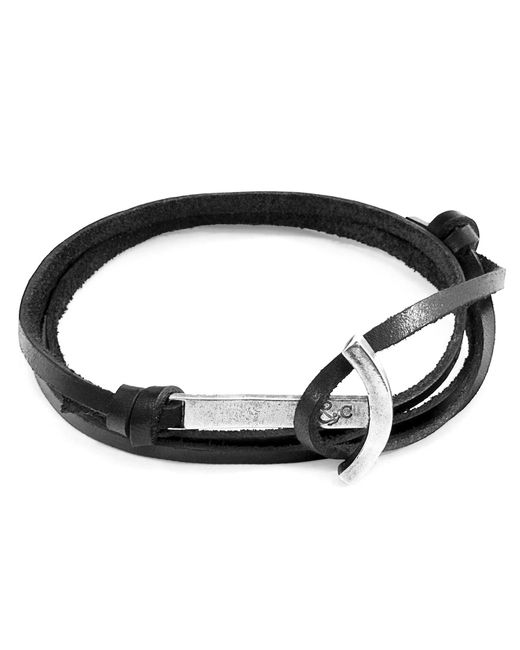 Anchor & Crew - Coal Black Clipper Anchor Silver & Flat Leather Bracelet for Men - Lyst