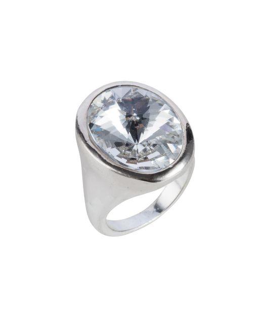 Nadia Minkoff - Metallic Oval Ring Silver Crystal - Lyst
