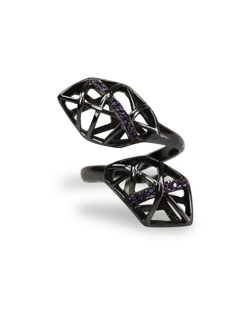 Bellus Domina - Black Amethyst & Ruthenium Plated Helical Ring - Lyst