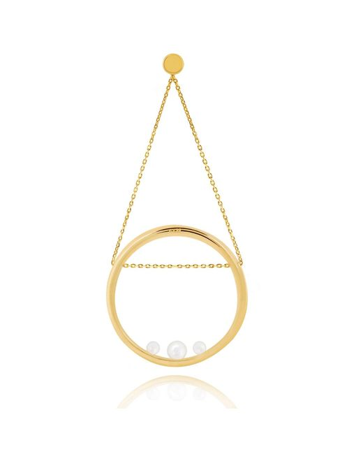 Astrid & Miyu - Metallic Pearl Spiral Swing Earring In Gold - Lyst