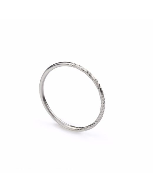 Myia Bonner | Metallic Silver Diamond Round Stacking Ring | Lyst