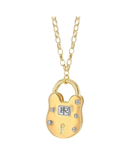 True Rocks - Metallic Large Two Tone Gold And Silver Vintage Style Padlock Pendant - Lyst