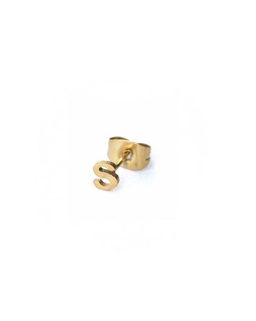 Whistle & Bango | Metallic Little Letter S Earring 18ct Gold | Lyst