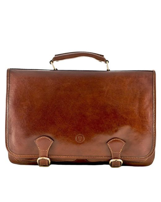 Maxwell Scott Bags   Brown Luxury Italian Leather Men's Large Satchel Bag Jesolo Chestnut Tan for Men   Lyst