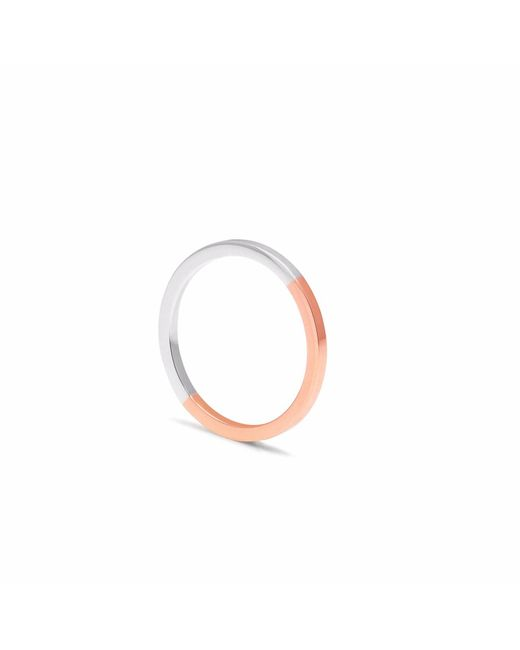 Myia Bonner - Metallic 9ct Rose Gold & Silver Square Stacking Ring - Lyst