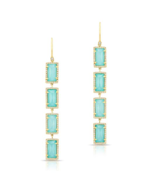 Anne Sisteron - Blue Yellow Gold Turquoise Diamond Rectangle Drops Earrings - Lyst