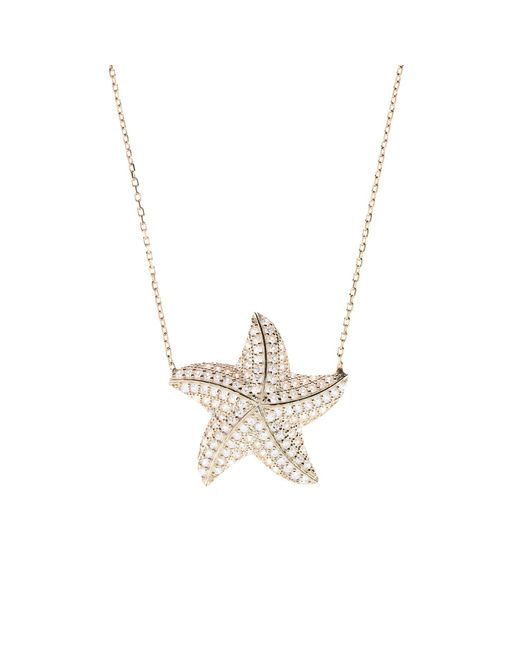 Latelita London | Metallic 22ct Rosegold Plated Sterling Silver Starfish Necklace | Lyst