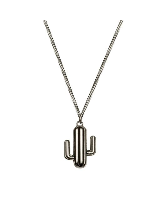 Lee Renee - Metallic Cactus Neckace Oxydised Silver - Lyst