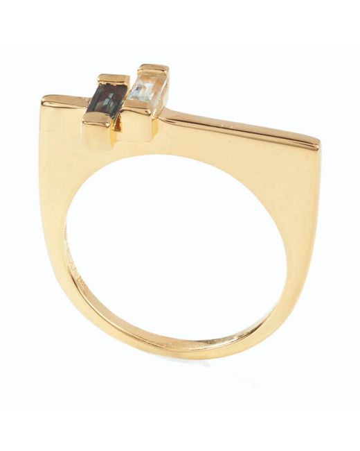 Neola - Metallic Anais Gold Stacking Ring With Blue And London Topaz - Lyst