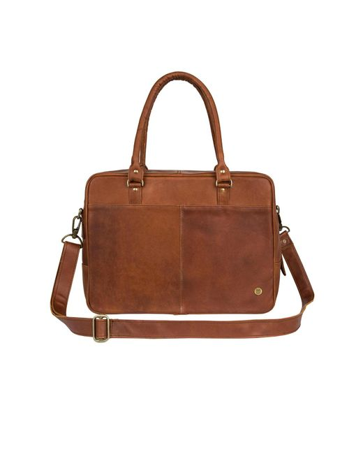"""MAHI Leather - Leather Oxford Zip-up Satchel Briefcase Bag With 15"""" Laptop Capacity In Vintage Brown for Men - Lyst"""
