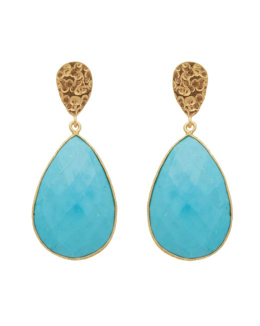 Carousel Jewels - Blue Double Drop Turquoise & Golden Nugget Earrings - Lyst
