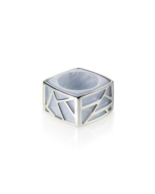 Ona Chan Jewelry | Square Cocktail Ring Blue Lace Agate | Lyst
