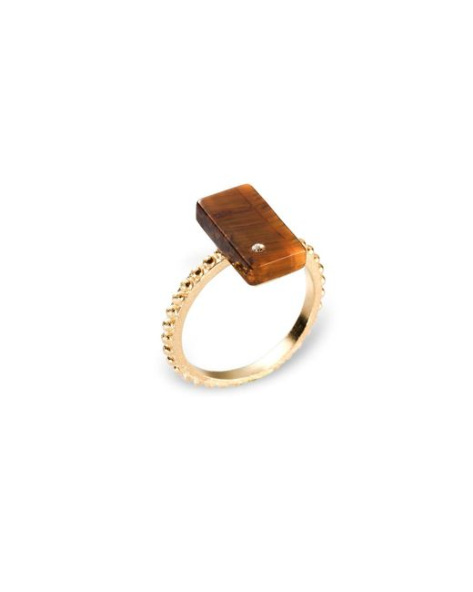 Ona Chan Jewelry   Brown Rectangular Ring Tiger's Eye With Swarovski Crystal   Lyst