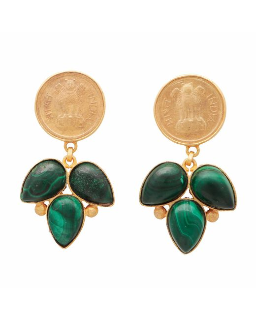 Carousel Jewels - Green Onyx Coin Earrings - Lyst