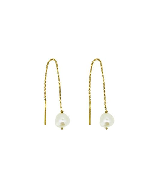 Yvonne Henderson Jewellery - Metallic Pearl Thread Through Drop Earrings - Lyst