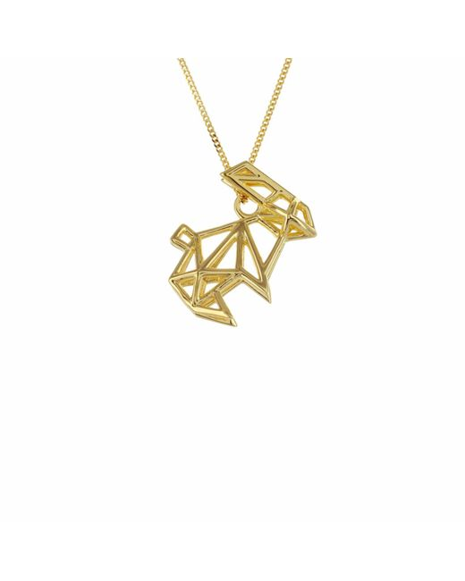 Origami Jewellery - Metallic Sterling Silver & Gold Frame Rabbit Origami Necklace - Lyst