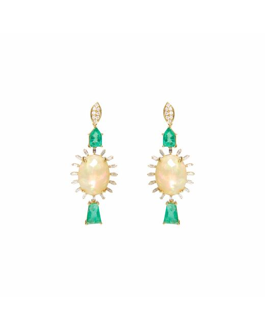 Ri Noor - Green Opal & Emerald Baguette Earrings - Lyst