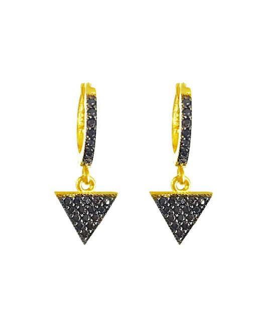 Talia Naomi | Metallic Illuminati Black Sleeper Hoop Earrings | Lyst